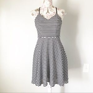 Express black and white stripe skater dress